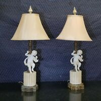 Pair of Vintage White Porcelain Cherub Angel Table Lamps Lights