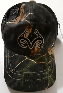 Men's Realtree Black Camouflage, Adjustable, Black Antlers On Front Ball Cap NEW