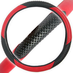 BDK Sports Grip Steering Wheel Cover 14.5-15.5 Inches Universal Fit Red Black Tw