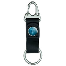 Medical Caduceus Symbol - EMT RN MD Belt Clip Carabiner Leather Keychain