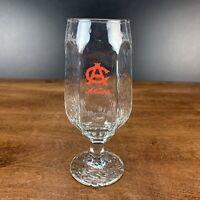 Vintage Adolph Coors Pilsner Beer Glass Stemmed Rippled Texture Hex Design 12 Oz
