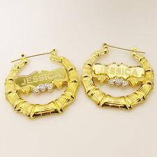 Personalized Bamboo Earning Name Hoop Earring 18k GP Name Hoop Earring