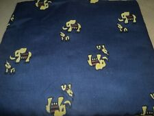 Gold Elephants On Navy Cotton-Upraised Felt Elephants- 2 Yards By 44""
