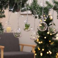 6pcs Clear Glass Tea Light Holder Hanging Candlestick Baubles Xmas Wedding Decor