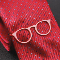 promo code 4dae8 9aaa8 Glasses Shape Tie Bar Red Slim Skinny Trendy Fashion Clip Clasp Clamp