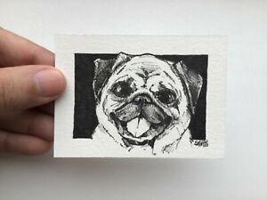 ACEO original art. Pug Dog Pet. Ink