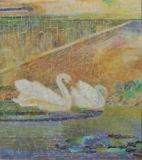 """WOODEN JIGSAW PUZZLE BY DAVE COOPER. """"TIFFANY SWANS""""."""