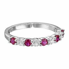 Sterling Silver Created Ruby and White Sapphire Ring Size 7 GEMSTONE Fine Rings