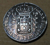 1814 Silver 960 Reis * Bahia Mint Colonial BRAZIL * over a Mexico 1807 8 Reales