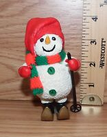 Unbranded Christmas Skiing Snowman Wearing a Hat Resin Figurine **READ**
