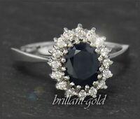 4,20ct Diamant Brillant & Saphir 585 Gold Damen Ring, Cocktailring Vintage 1950