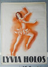 Affiche originale ancienne - LYDIA HOLOS  - Paul COLIN