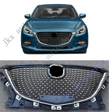 Chrome Front Center Bumper Vent Hood Grille Grill k For Mazda 3 Axela 2017-18