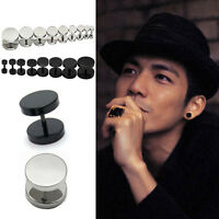 Men Women's Round Barbell Punk Gothic Stainless Steel Ear Studs Earrings Gifts