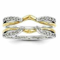 1 ct Round Diamond Solitaire Wrap Ring Guard Enhancer 14K Two Tone Gold Finish