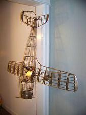 "Curtis Jere  Airplane Sculpture 1987  Impressive 49"" wing span Pilot Plane"