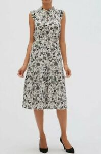NWT BANANA REPUBLIC White Floral Print Ruffle Sleeve Tie Neck  Midi Dress Sz 10