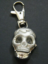 Skull Watch Quartz 2nd Hand Spring Loaded & Key Chain Brush Silver Skeleton New!