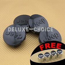 "SET OF 4 BLACK LOGO WHEEL CAP HUB CENTER REPLACE for JEEP US SELLER 64mm (2.5"")"