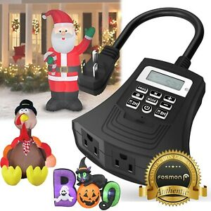 Heavy Duty [3 OUTLET] Digital Waterproof Halloween Christmas Inflatable Timer