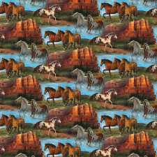 Wild Wings Rivers Edge Horses Scenic 100% cotton fabric by the yard