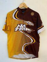 NO FEAR men's retro yellow brown short sleeve bike jersey size approx M