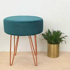 Teal Green/Blue Velvet & Copper Round Stool Metal Hairpin Legs Upholstered Seat