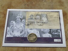More details for 2003 large liberia coin cover / cook island 50c - queen's coronation jubilee