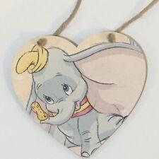 Disney Dumbo Handmade wooden hanging Heart Plaque Decoupaged New Baby Gift