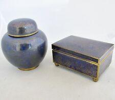 """Antique Chinese Cobalt Blue Cloisonne 5.5"""" Cigarette Box & 5.4"""" Ginger Jar"""