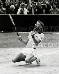 Bjorn Borg kneeling on court celebration pumped  8x10 11x14 16x20 photo 698