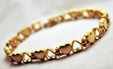 LADIES 10 IN FLIP-FLOP GOLD HEARTS MAGNETIC THERAPY LINK ANKLET: 4 Pain!