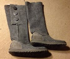 Ugg Uggs Tall Classic Cardy Gray Sweater Button Convertible Boot  6
