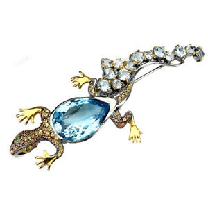 Handmade Pear Sky Blue Topaz 24.73ct Gems 925 Sterling Silver Lizard Brooch Big