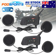 2x Motorcycle Intercom Bluetooth Helmet Headset Communication 6 Riders 1200M