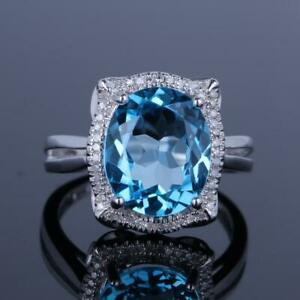 5.2CT BLUE TOPAZ DIAMOND ENGAGEMENT FINE RING 10X12MM OVAL SOLID 14K WHITE GOLD