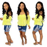 ❤❤US Fashion Womens Elastic Denim Ripped Hole Short Jeans Casual Denim Pants❤❤