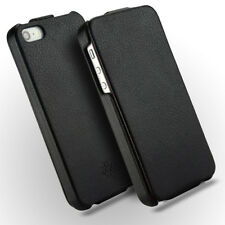 Novada iPhone SE 5S 5 Genuine Leather Flip Case Cover - Black - Duke Collection