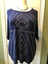 Belldini Navy Blue Cold Open Shoulder Tunic Size 3X