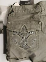 new Women's Miss Me Olive Green Flap Pockets Cargo Shorts Womens Size 25 nwt