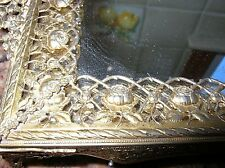 Antique Filigree Brass Mirrored Vanity Tray Roses, Vines with Thorns Outstanding