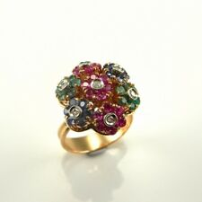 Kinetic En Tremblant Moving Ruby Sapphire Diamond Emerald 18K Gold Ring 1950s