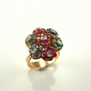 Kinetic En Tremblant Moving Ruby Sapphire Diamond Emerald 18K Gold Ring 1950s