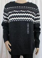 Grey Fairisle Crewneck Men's Mountain Sweater Sonoma Life + Style 2XL Wool Blend