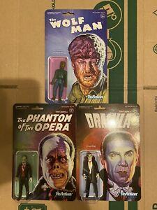 Super7 ReAction Universal Monsters Lot Dracula Wolf Man Phantom Of The Opera New