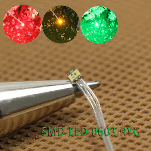 T0603RGY 20pcs Pre-soldered micro litz wired leads Red Green Yellow SMD Led 0603