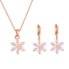 af9292ee79da Moda 18k Chapado en Oro Rosa claro CZ Mujer Flor Collar Aretes Bisutería  Set. ₡ 1 192.33