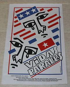 Cuban SILKSCREEN Movie POSTER.Vidas.Lives.Exiles.Modern handmade art