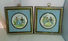 Vintage Limoges Porcelain Discs Watteau Courting Couple French Framed Open Front