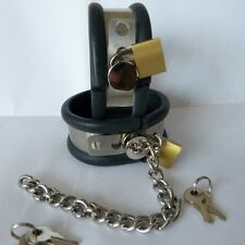 Locking steel cuffs with rubber liner and chain Small (CU-106), FREE UK DELIVERY